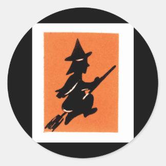 Old Fashioned Halloween Witch Silhouette Round Sticker