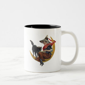 Old Fashioned Halloween Witch Two-Tone Coffee Mug