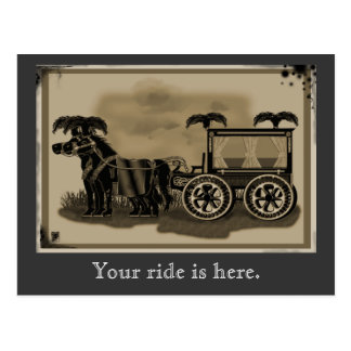 old fashioned hearse postcard
