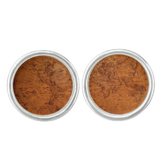 Old Fashioned Historical Vintage World Map Cuff Links