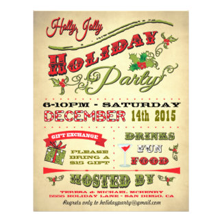Old Fashioned Holly Jolly Holiday Party Poster 21.5 Cm X 28 Cm Flyer