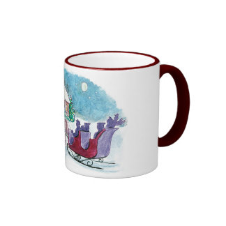 Old Fashioned Horse and Sleigh Christmas Ringer Mug