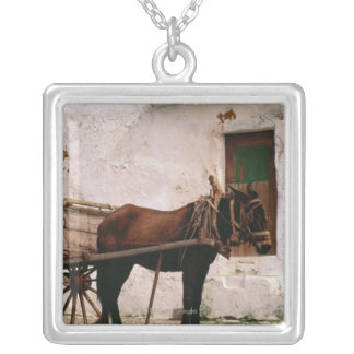 Old-fashioned horse-drawn cart silver plated necklace