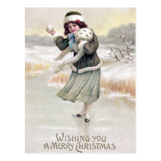 Old Fashioned Ice Skater Vintage Christmas Postcard