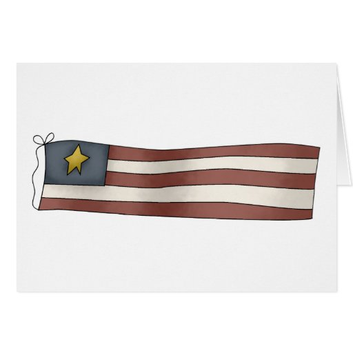 Old Fashioned Independence Day Flag Greeting Card