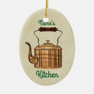 Old Fashioned Kitchen Copper Kettle OVAL Christmas Ornament