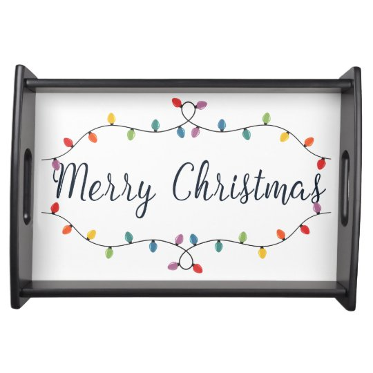 Old Fashioned Lights Merry Christmas Serving Tray