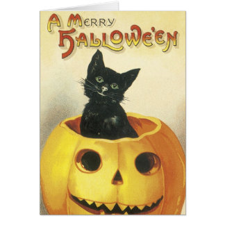 Old Fashioned Merry Halloween Cat Greeting Card
