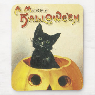 Old Fashioned Merry Halloween Cat Mouse Mat