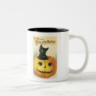 Old Fashioned Merry Halloween Cat Two-Tone Mug