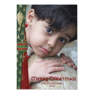 Old Fashioned Ornament Merry Christmas Photocard 13 Cm X 18 Cm Invitation Card
