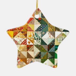 Old Fashioned Patchwork Quilt Ceramic Star Decoration