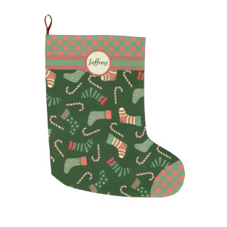 Old Fashioned Pattern Personalized Large Christmas Stocking