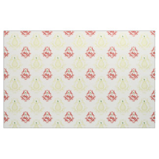 Old fashioned Pears and Cherries Damask Pattern Fabric