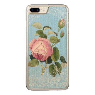 Old Fashioned Pink Rose Lacy Floral China Blue Carved iPhone 7 Plus Case