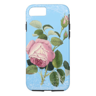 Old Fashioned Pink Rose Lacy Floral China Blue iPhone 7 Case