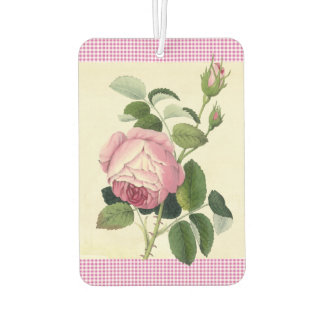 Old Fashioned Pink Rose Linen Gingham Decorative