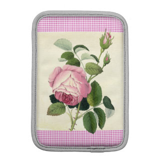 Old Fashioned Pink Rose Linen Gingham Decorative iPad Mini Sleeve