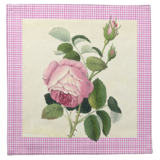 Old Fashioned Pink Rose Linen Gingham Decorative Napkin