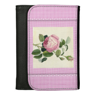Old Fashioned Pink Rose Linen Gingham Decorative Women's Wallet