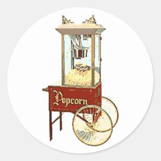 Old Fashioned Popcorn Machine Round Sticker