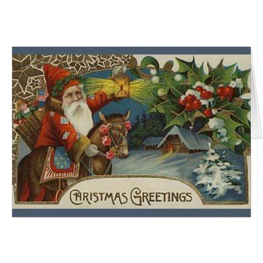 Old Fashioned Primitive Santa Christmas Card