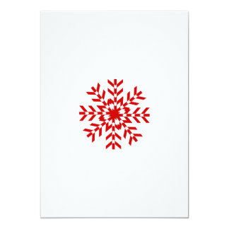 """Old Fashioned Red and White Christmas Snowflake 5"""" X 7"""" Invitation Card"""