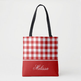 Old Fashioned Red and White Gingham | Personalized Tote Bag