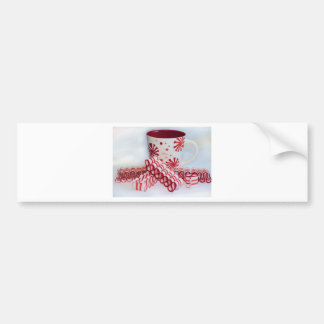 Old Fashioned Red and White Ribbon Candy With Mug Bumper Sticker