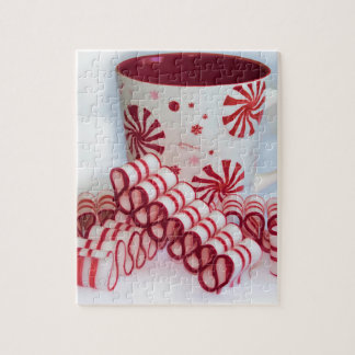 Old Fashioned Red and White Ribbon Candy With Mug Jigsaw Puzzles