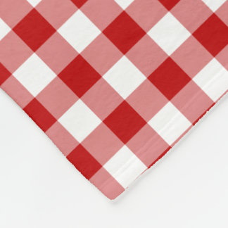 Old Fashioned Red & White Gingham Checked Pattern Fleece Blanket