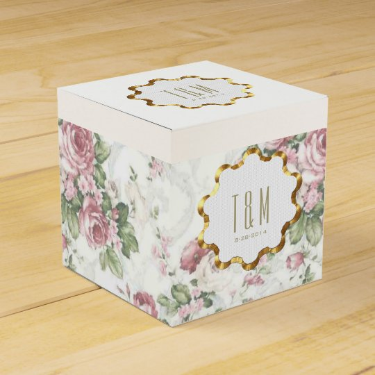 Old-Fashioned Rose Pattern Wedding Favour Boxes