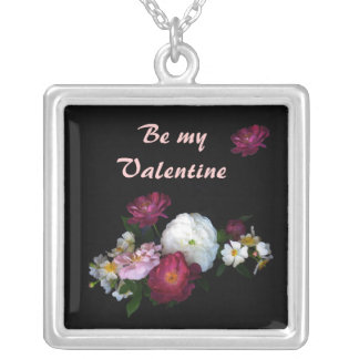 Old Fashioned Roses Valentine Square Pendant Necklace