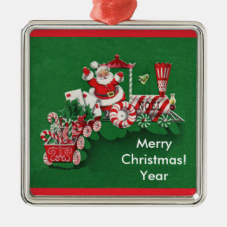 Old Fashioned Santa Candy Train Christmas Ornament