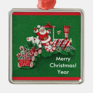 Old Fashioned Santa Candy Train Silver-Colored Square Decoration