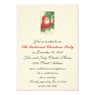 Old Fashioned Santa Christmas Party Invitations