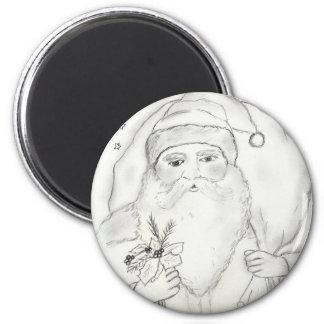 Old Fashioned Santa Claus 6 Cm Round Magnet