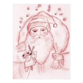 Old Fashioned Santa Claus in Red Postcard
