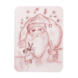 Old Fashioned Santa Claus in Red Rectangle Magnet