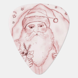 Old Fashioned Santa in Red Guitar Pick