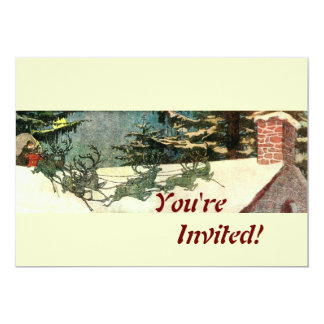 """Old Fashioned Santa on Rooftop 5"""" X 7"""" Invitation Card"""