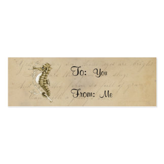 Old Fashioned Seahorse on Vintage Paper Background Business Card Templates