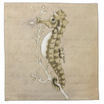 Old Fashioned Seahorse on Vintage Paper Background Printed Napkin