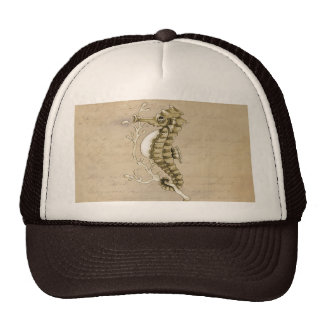Old Fashioned Seahorse on Vintage Paper Background Mesh Hats