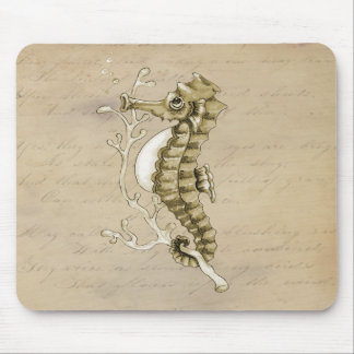 Old Fashioned Seahorse on Vintage Paper Background Mouse Mat