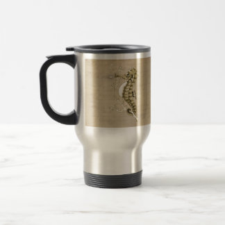 Old Fashioned Seahorse on Vintage Paper Background 15 Oz Stainless Steel Travel Mug