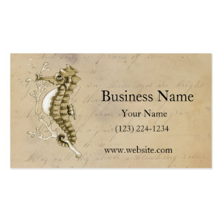 Old Fashioned Seahorse on Vintage Paper Background Pack Of Standard Business Cards
