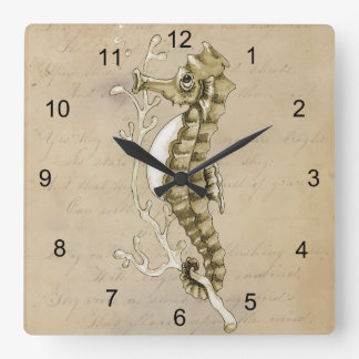 Old Fashioned Seahorse on Vintage Paper Background Square Wall Clock