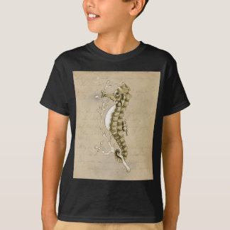 Old Fashioned Seahorse on Vintage Paper Background T-shirts