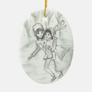 Old Fashioned Skaters Ceramic Oval Decoration